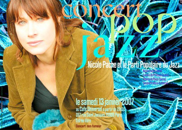 Valérie Besser, concert pop jazz, flyer, 2007 (© V. Besser)