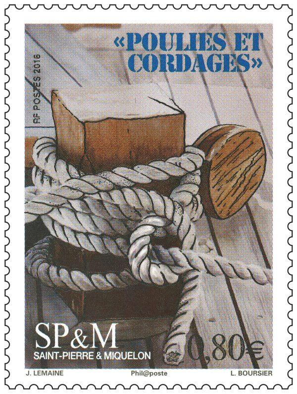 Saint-Pierre et Miquelon, Poulies et cordages, 2016 (dessin de Joël Lemaine, Impression mixte) (© Saint-Pierre et Miquelon La Poste / J. Lemaine)