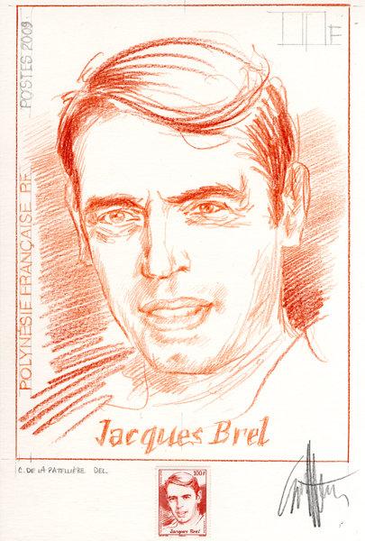 Projet de timbre-poste Jacques Brel pour La Polynésie française dessinés par Cyril de La Patellière (Collection Musée de La Poste, Paris) (© La Poste / Musée de La Poste / C. de La Patellière)