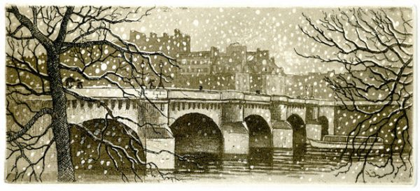 André Lavergne, Le Pont-neuf sous la neige, eau-forte avec aquatinte (© A. Lavergne)