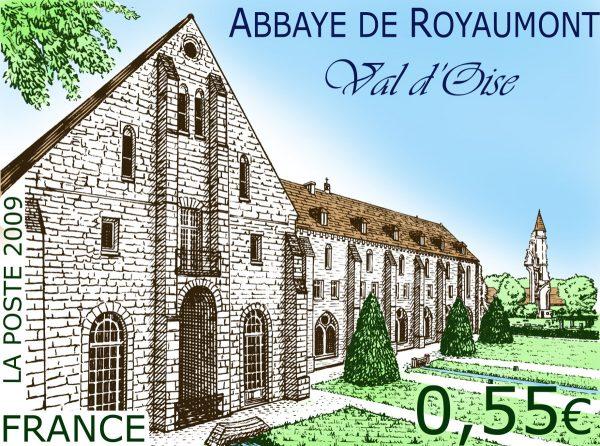 France. Abbaye de Royaumont, Val d'Oise, 2009 (conception et gravure de Line Filhon, impression taille-douce) Maquette (© La Poste / L. Filhon)