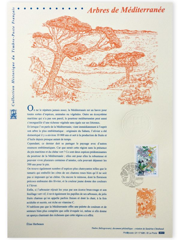 Euromed Postal. Arbres de la Méditerranée, document philatélique officiel, 2017 (Illustration de Sandrine Chimbaud) (© La Poste / S. Chimbaud)