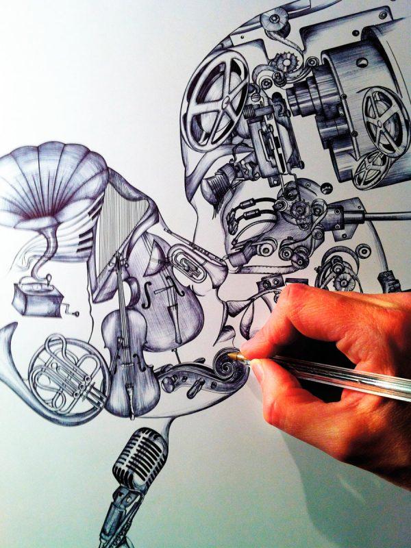 Sandrine Chimbaud, Le baiser, création du visuel, dessin au stylo Bic, 2013 (© S. Chimbaud)