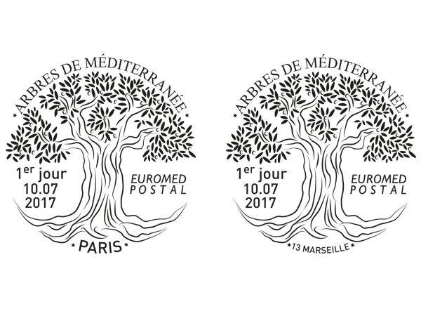 Euromed Postal. Arbres de la Méditerranée, timbre à date, Paris et Marseille, 2017 (Dessin de Sandrine Chimbaud) (© La Poste / S. Chimbaud)