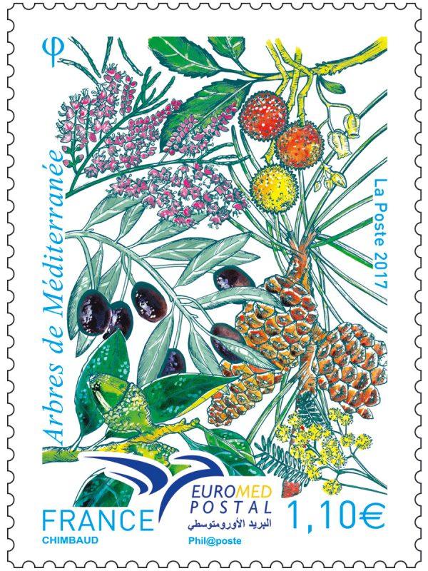 France. Euromed Postal. Arbres de la Méditerranée, 2017 (création de Sandrine Chimbaud, impression héliogravure) (© La Poste / S. Chimbaud)