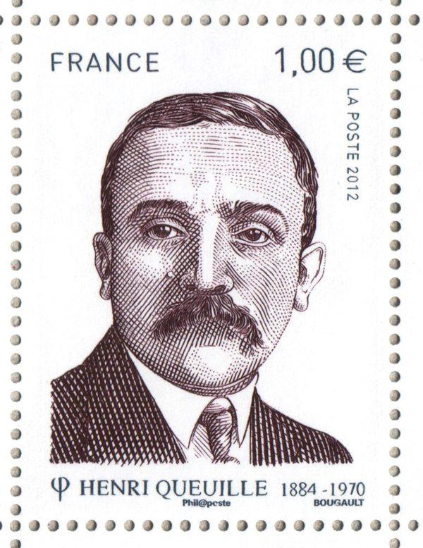France. Henri Queuille, timbre-poste en taille-douce, dessin et gravure Sarah Bougault, 2012 (© La Poste / S. Bougault)