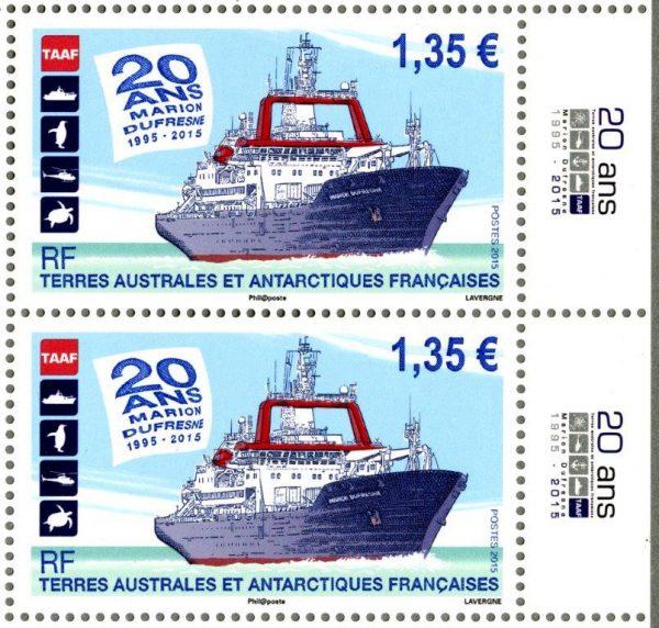 TAAF. 20ème anniversaire du navire « Marion Dufresne », 2015 (création et gravure d'André Lavergne, impression taille-douce et offset) (© TAAF / A. Lavergne)