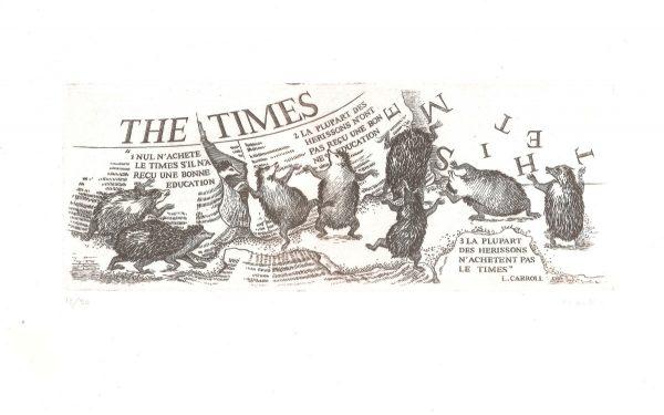 Marie-Noëlle Goffin, « the Times », gravure au burin (© MN. Goffin)