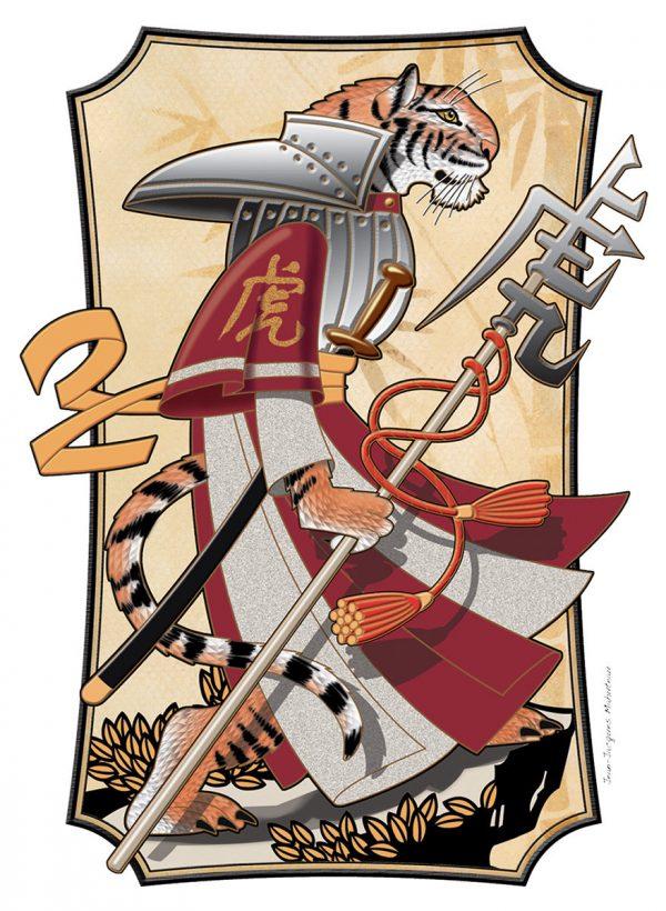 Jean-Jacques Mahuteau, Tigre manga, aquarelle et dessin numérique, illustration du zodiaque chinois pour le Livre des timbres de Nouvelle-Calédonie, 2010 (© JJ. Mahuteau)