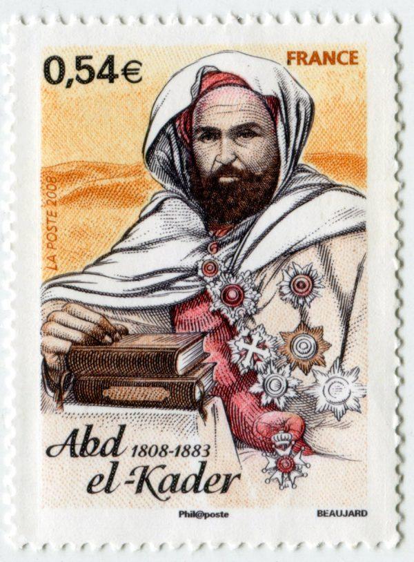 France. L'émir Abd el-Kader, 2008 (dessin et gravure d'Yves Beaujard, impression taille-douce) (© La Poste / Y. Beaujard)
