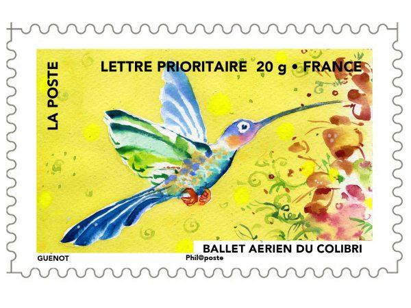 France : Fête du timbre. Le timbre fête l'air. Ballet aérien du colibri, 2013 (Conception de Christelle Guénot, carnet de timbres autoadhésifs, impression héliogravure (© La Poste / C. Guénot)