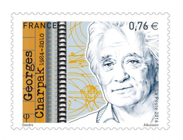 France : Georges Charpak, 2016 (création de Florence Gendre, gravure de Pierre Albuisson, impression taille-douce) (© La Poste / F. Gendre / P. Albuisson)