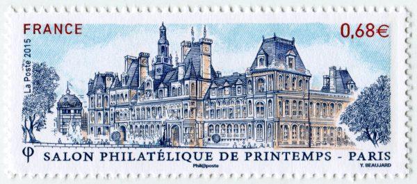 France. Salon philatélique de printemps-Hôtel de ville de Paris, 2015 (dessin et gravure d'Yves Beaujard, impression taille-douce) (© La Poste / Y. Beaujard)