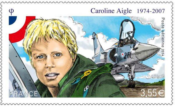 France. Caroline Aigle, timbre de poste aérienne, 2014 (dessin de Pierre-André Cousin, gravure de Pierre Albuisson, impression mixte taille-douce et offset) (© La Poste / PA. Cousin)