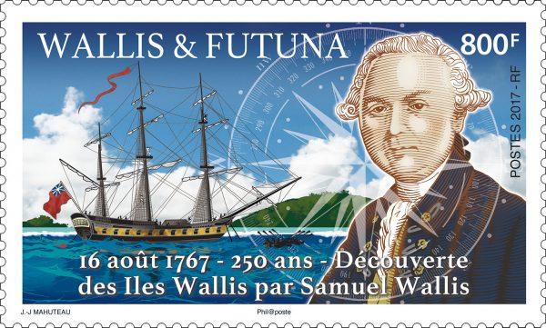 Wallis et Futuna : 16 août 1767, Découverte des îles Wallis par Samuel Wallis, 2017 (création de Jean-Jacques Mahuteau, impression offset) (© Wallis et Futuna / JJ.Mahuteau)