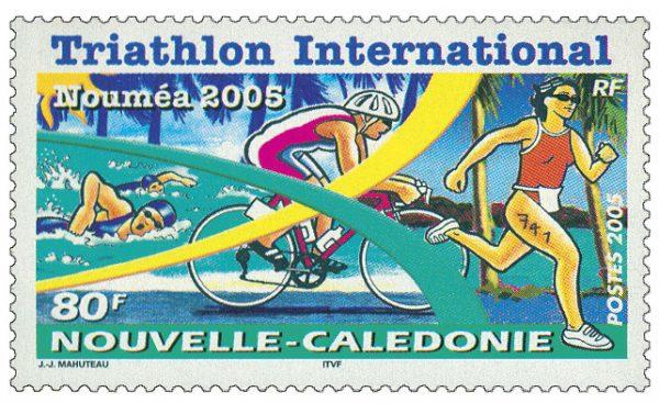 Nouvelle-Calédonie : Triathlon international de Nouméa, 2008 (création de Jean-Jacques  Mahuteau, impression offset) (© Nouvelle-Calédonie OPT / JJ. Mahuteau)