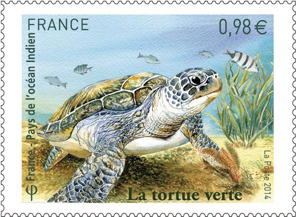France. Tortue verte, maquette, aquarelle, 2014 (dessin de Claude Perchat (© La Poste / C. Perchat)