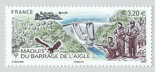 France. Barrage de l'Aigle, 2016(création de Sophie Beaujard, gravure de Pierre Bara, impression taille-douce) (© La Poste / S. Beaujard / P. Bara)