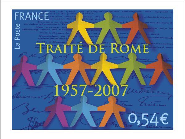 France. Cinquantenaire du traité de Rome, 2007 (création de Staphanie Ghinéa,  photo-montage) (Timbre-poste en héliogravure) (© La Poste / S. Ghinéa)