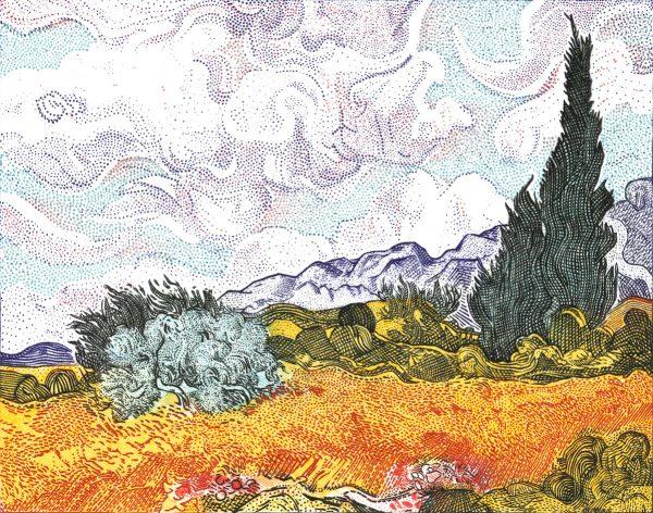 Elsa Catelin, D'après les blés jaunes de Van Gogh, gravure, burin en 6 couleurs, 2005 (© E. Catelin)