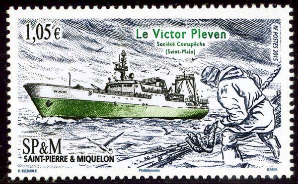 Saint-Pierre et Miquelon : Le Victor Pléven, 2015 (dessin de Patrick Dérible, gravure de Pierre Bara, impression taille-douce) (© Saint-Pierre et Miquelon La Poste / P. Dérible / P. Bara)