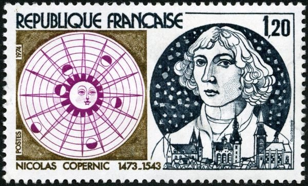 France: 500th anniversary of the birth of Nicolas Copernicus, 1974 (drawing and engraving by Claude Andréotto, intaglio print) (© La Poste / C. Andréotto)