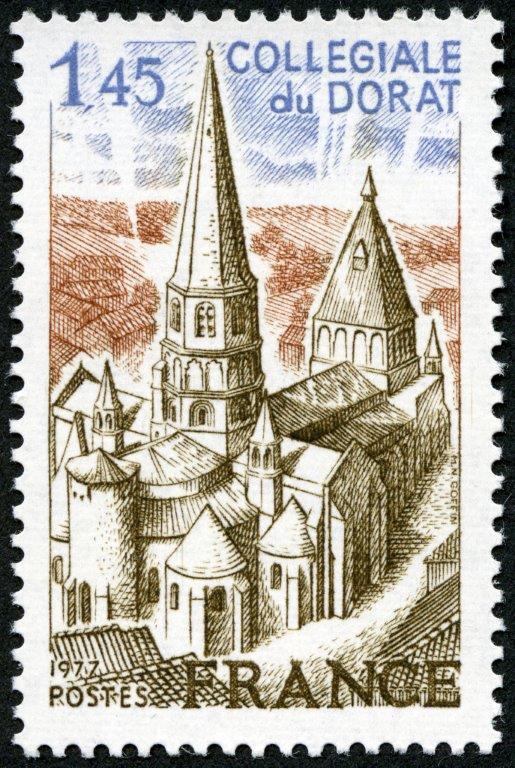 France. Collégiale du Dorat, Limousin, 1977 (dessin et gravure de Marie-Noëlle Goffin, impression taille-douce) (© La Poste / MN. Goffin)