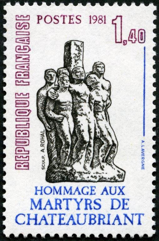 France : Hommage aux martyrs de Châteaubriant, 1981 (dessin et gravure d'André Lavergne, impression taille-douce) (© La Poste / A. Lavergne)