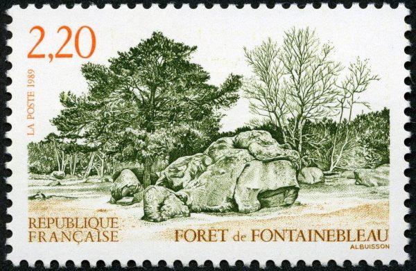 France : Forêt de Fontainebleau, 1989 (dessin et gravure de Pierre Albuisson, impression taille-douce) (© La Poste / P. Albuisson)