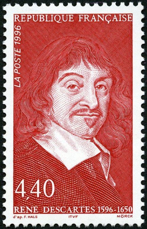 France : 400ème anniversaire de René Descartes, 1996 (dessin et gravure de Martin Mörck, d'après Frans Hals, impression taille-douce) (© La Poste / M. Mörck)