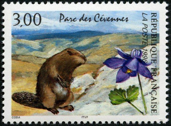 France. Parc des Cévennes, 1996 (création de Guy Coda, mise en page Odette Baillais, impression héliogravure). Prix du timbre de l'année (© La Poste / G. Coda)