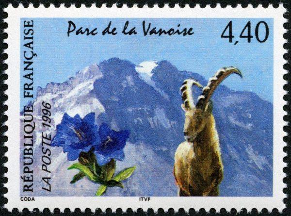 France. Parc de la Vanoise, 1996 (création de Guy Coda, mise en page Odette Baillais, impression héliogravure). Prix du timbre de l'année (© La Poste / G. Coda)