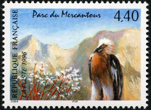 France. Parc du Mercantour, 1996 (création de Guy Coda, mise en page Odette Baillais, impression héliogravure). Prix du timbre de l'année (© La Poste / G. Coda)