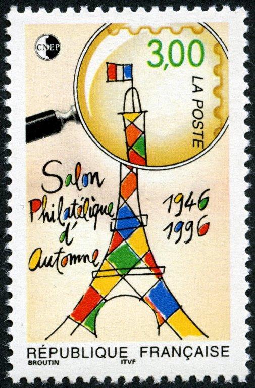 Salon philatélique d'automne, 1996 (dessin de Christian Broutin, impression héliogravure) (© La Poste / C. Broutin)