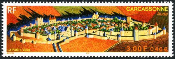 France : La cité de Carcassonne, 2000 (création de Christian Broutin, impression héliogravure) (© La Poste / C. Broutin)