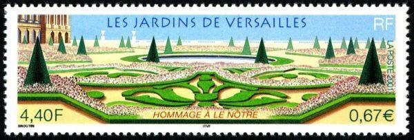 Les jardins de Versailles. Hommage au jardinier Le Nôtre, 2001 (création de Christian Broutin, impression héliogravure.  Prix Cérès de la philatélie 2001) (© La Poste / C. Broutin)