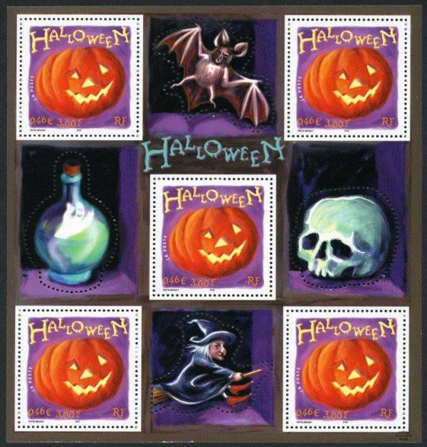 France. Halloween, 2001 (dessin de Sylvie Patte et  de Tanguy Besset, impression héliogravure) (© La Poste / S. Patte et T. Besset)