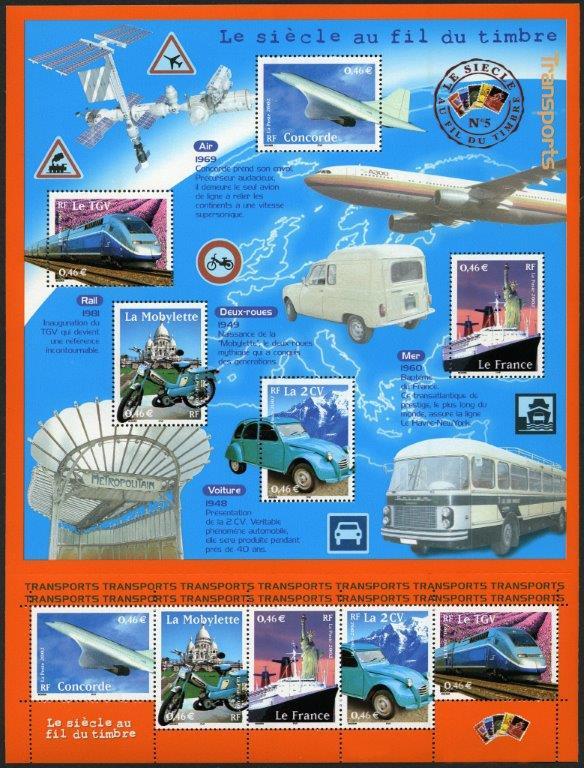 France : Le siècle au fil du timbre. Transports, 2001 (conception Valérie Besser, impression héliogravure) (© La Poste / V. Besser)