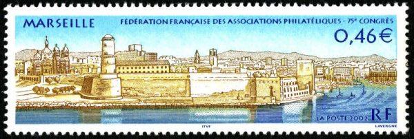 France. 75ème congrès de la Fédération française des associations philatéliques, à Marseille, 2002 (création et gravure d'André Lavergne, impression taille-douce) (© La Poste / A. Lavergne)