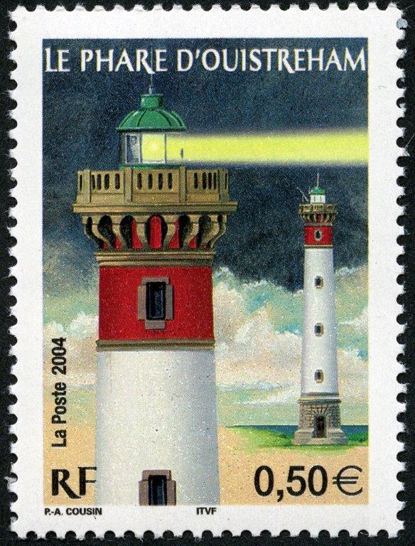 France. Le phare d'Ouistreham, 2004 (dessin de Pierre-André Cousin, impression héliogravure) (© La Poste / PA. Cousin)