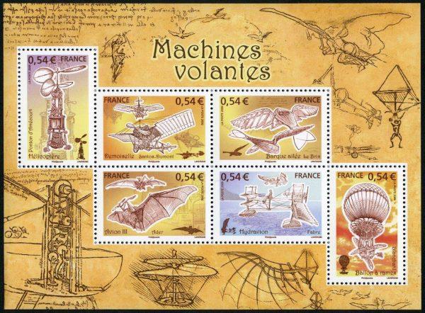 France. Aviation. Les machines volantes, bloc-feuillet, 2006 (conception et gravure d'André Lavergne, impression taille-douce)
