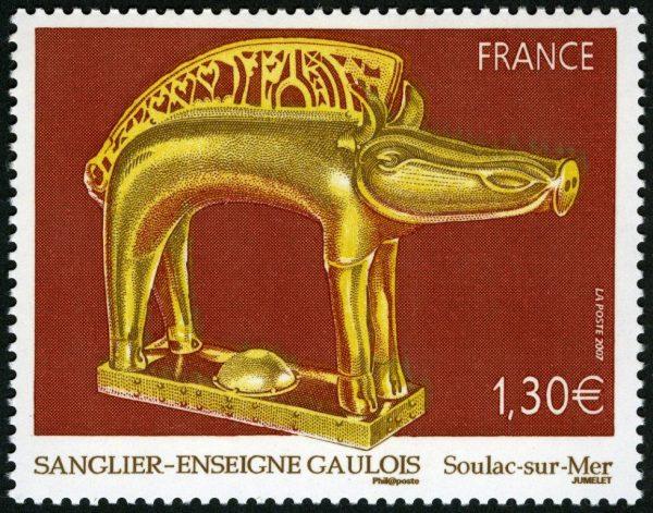 France. Sanglier-enseigne gaulois (musée archéologique de Soulac-sur-Mer, Gironde), 2007 (dessin et gravure de Claude Jumelet, impression taille-douce) (© La Poste / C. Jumelet)