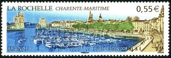 France. La Rochelle, 2008 (dessin et gravure d'Elsa Catelin, impression taille-douce) (© La Poste / E. Catelin)