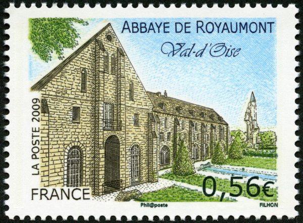 France. Abbaye de Royaumont, Val d'Oise, 2009 (conception et gravure de Line Filhon, impression taille-douce) Timbre-poste (© La Poste / L. Filhon)