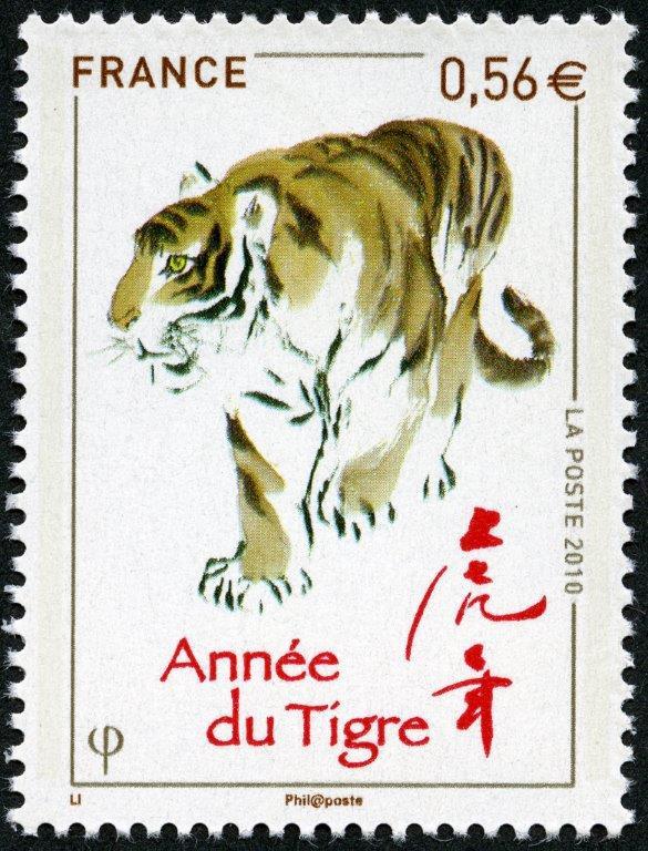 France. Année lunaire chinoise du Tigre, 2010 (création de Zhongyao Li, impression héliogravure) (© La Poste / Z. Li)