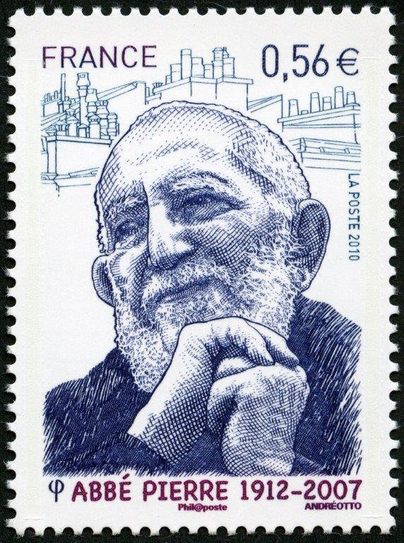 France: Abbé Pierre, founder of Emmaus, 2010 (drawing and engraving by Claude Andréotto, intaglio print) (© La Poste / C. Andréotto)