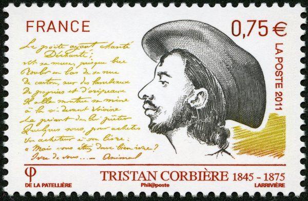 France : Tristan Corbière, 2011 (dessin de Cyril de La Patellière, gravure de Jacky Larrivière, impression taille-douce) (© La Poste / C. de La Patellière / J. Larrivière)