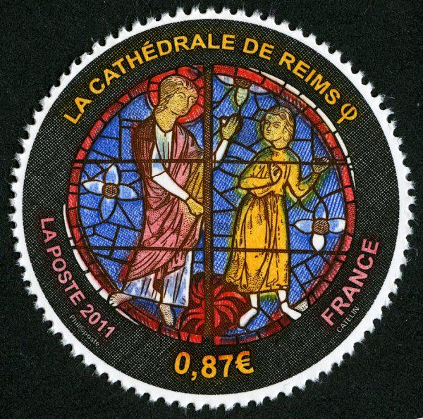 France. 800ème anniversaire de  la Cathédrale de Reims, 2011 (dessin et gravure d'Elsa Catelin, impression taille-douce) (© La Poste / E. Catelin)