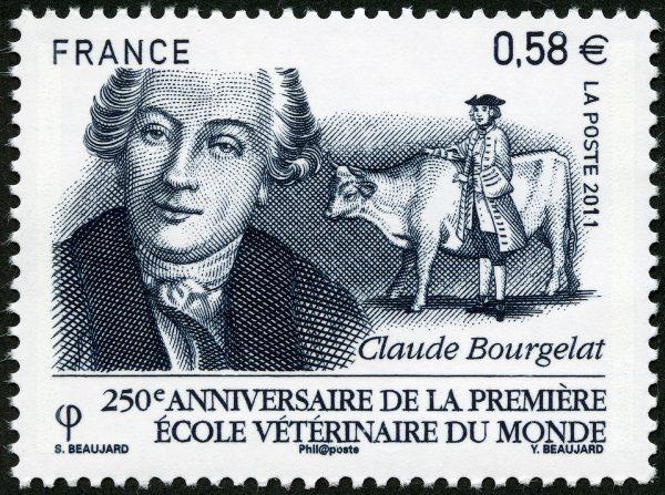 France : 250ème anniversaire de la première école vétérinaire du monde, Claude Bourgelat, 2011 (dessin de Sophie Beaujard, gravure d'Yves Beaujard) (© La Poste / S. Beaujard / Y. Beaujard)