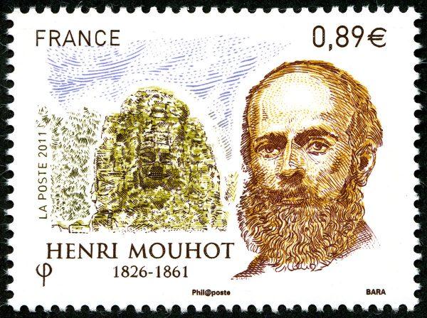 France. Henri Mouhot, 2011 (conception et gravure de Pierre Bara, impression taille-douce) (© La Poste / P. Bara)